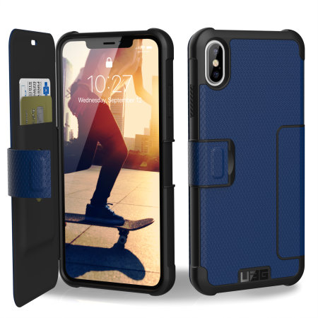 uag metropolis iphone xs max rugged wallet case - cobalt