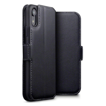 Olixar Slim Genuine Leather Flip iPhone XR Wallet Case - Black