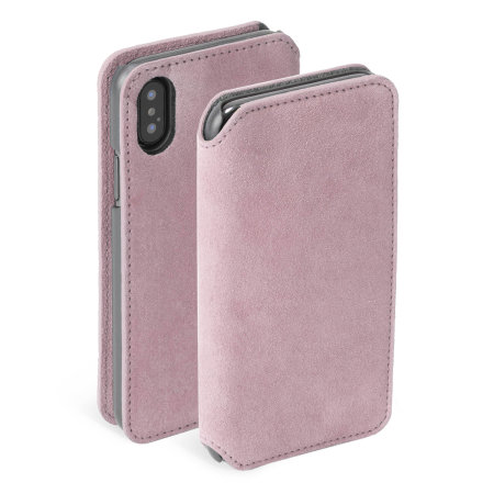 krusell broby 4 card iphone xs max slim wallet case - pink