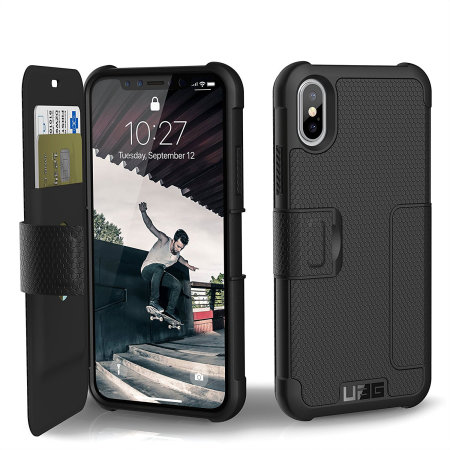 uag metropolis rugged iphone xs wallet case - black