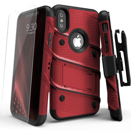 zizo bolt iphone xs tough case & screen protector - red / black