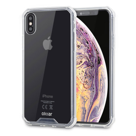 olixar exoshield tough snap-on iphone xs case - crystal clear
