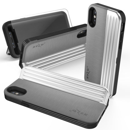 zizo retro iphone xs wallet stand case - silver