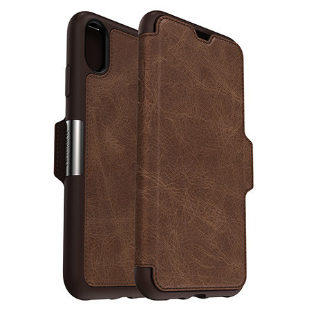 otterbox strada folio iphone xs max leather wallet case - espresso reviews
