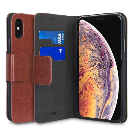 olixar leather-style iphone xs wallet stand case - brown
