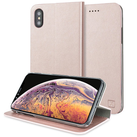 olixar leather-style iphone xs wallet stand case - rose gold