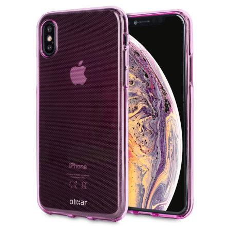 olixar flexishield iphone xs gel case - pink