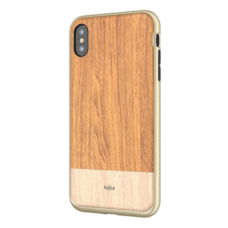 kajsa outdoor iphone xs max wooden pattern case - light brown