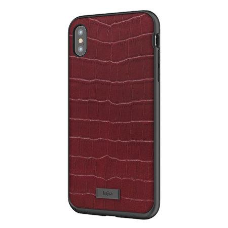 kajsa neo classic genuine leather iphone xs max croco case - red