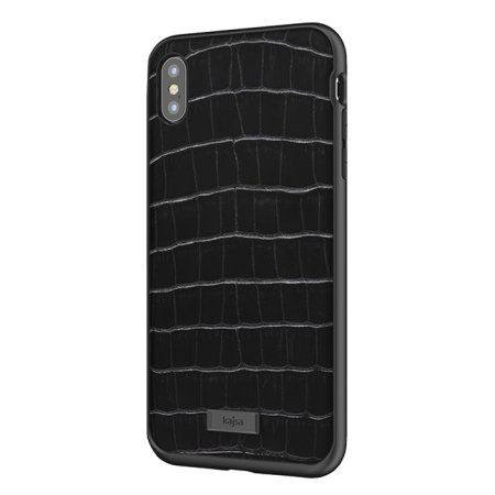 kajsa neo classic genuine leather iphone xs max croco case - black