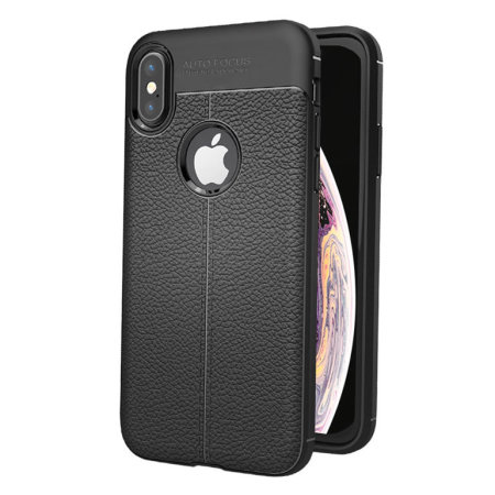olixar attache premium iphone xs leather-style protective case - black