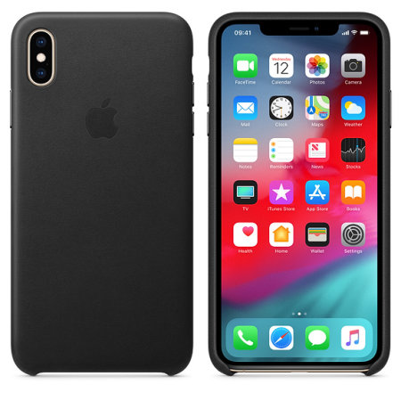 official apple iphone xs max leather case - black