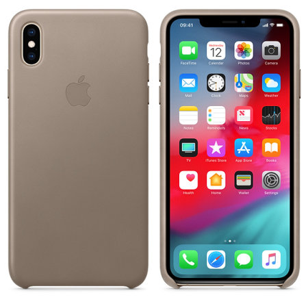 official apple iphone xs max leather case - taupe reviews
