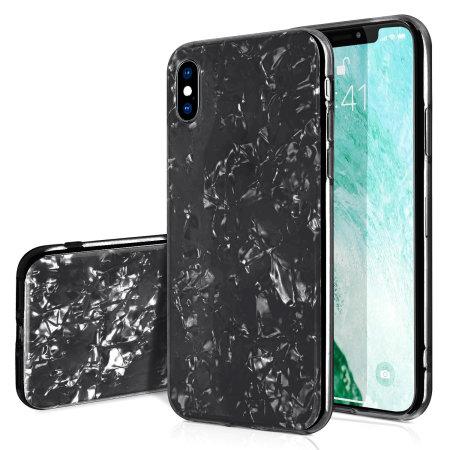 olixar apple iphone xs max crystal shell case - black
