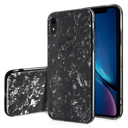 olixar iphone xr crystal shell case - black