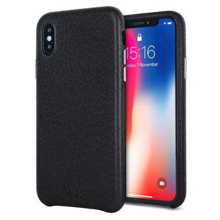 vaja grip slim iphone xs premium leather case - black