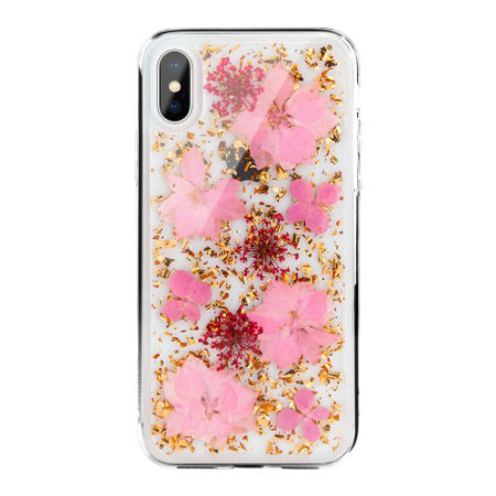 switcheasy flash iphone xs natural flower case - luscious pink
