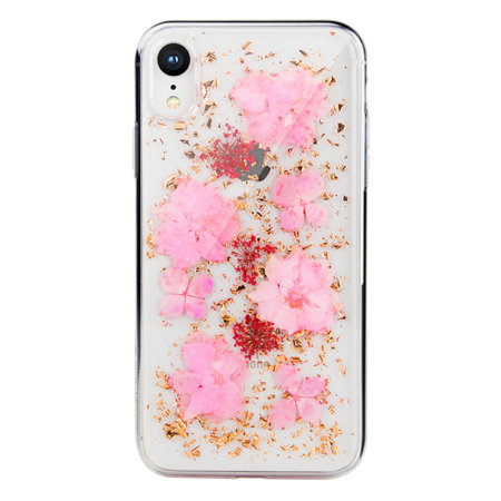 switcheasy flash iphone xr natural flower case - luscious pink