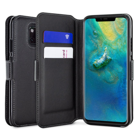 Olixar Huawei Mate 20 Pro Genuine Leather Wallet Case - Black