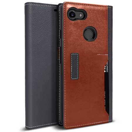 Obliq K3 Google Pixel 3 XL Leather Style Wallet Case - Grey / Brown