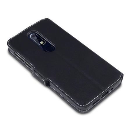 Olixar Nokia 7.1 Low Profile Leather-Style Wallet Case - Black