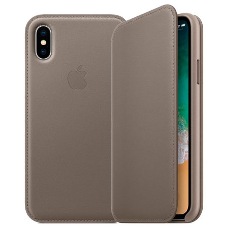 online retailer c6912 f317c Official Apple iPhone X Leather Folio Wallet Case - Taupe