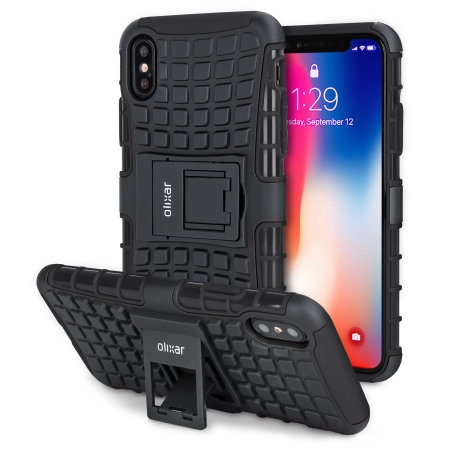 olixar armourdillo iphone xs protective case - black