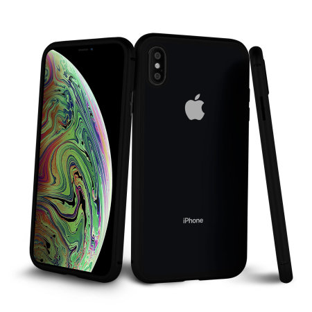 olixar colton iphone xs 2-piece case with screen protector - black