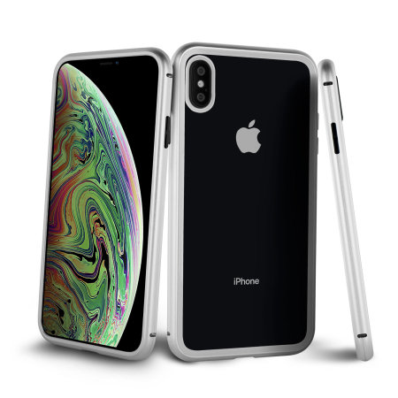 olixar colton iphone xs 2-piece case with screen protector - silver