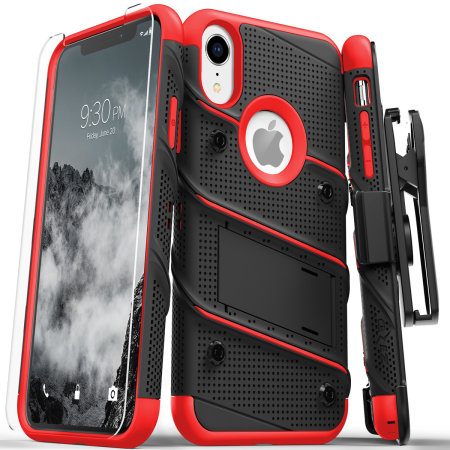 zizo bolt iphone xr tough case & screen protector - black / red reviews