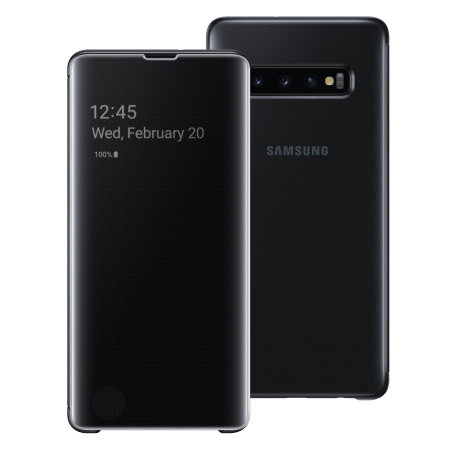 the best attitude ad0a0 c44b8 Official Samsung Galaxy S10 Plus Clear View Cover Case - Black