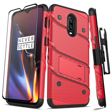 Zizo Bolt OnePlus 6T Tough Case & Screen Protector - Red / Black