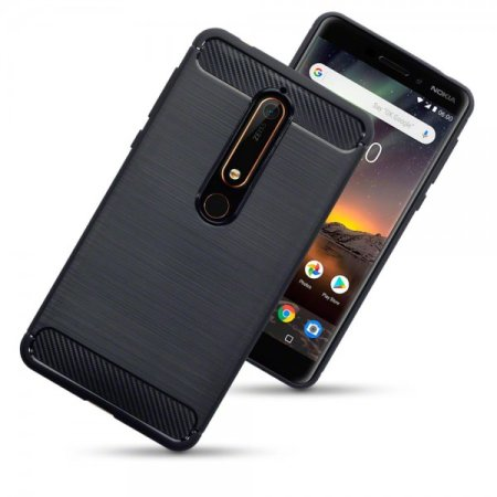 info for 775c8 9f974 Olixar Nokia 6.1 Carbon Fibre Design Gel Case - Black