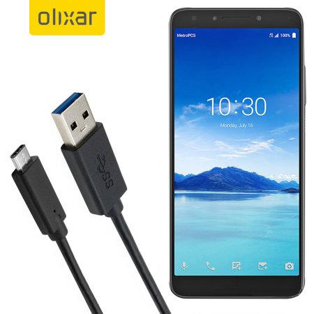 Olixar USB C BlackBerry KEYone Charging Cable Black 1m