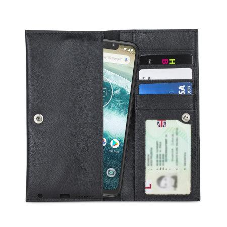 Olixar Primo Lederen Motorola One Portemonnee Case - Zwart