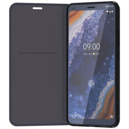 finest selection c0ef0 c19c5 Official Nokia 9 Pureview Premium Leather Flip Cover Case - Dark Blue