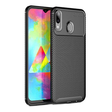 Coque Samsung Galaxy M20 Olixar effet fibre de carbone – Noir