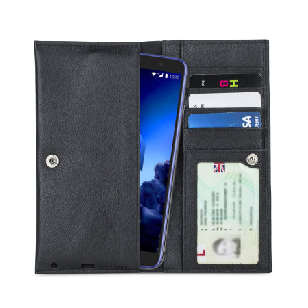 Olixar Primo Genuine Leather Alcatel 1x 2019 Wallet Case - Black