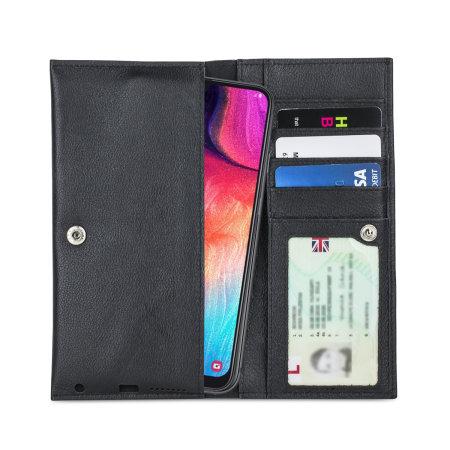 Olixar Primo Genuine Leather Samsung Galaxy A50 Wallet Case - Black