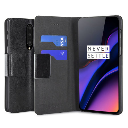 Olixar Leather-Style OnePlus 7 Pro Wallet Stand Case - Black