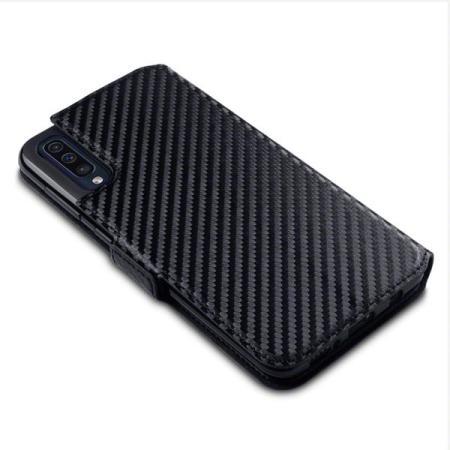 Olixar Carbon Fibre Texture Samsung Galaxy A50 Wallet Case - Black
