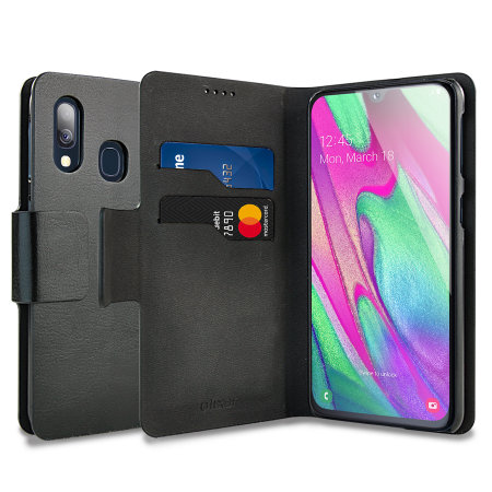 Olixar Leather-Style Samsung Galaxy A40 Wallet Stand Case - Black