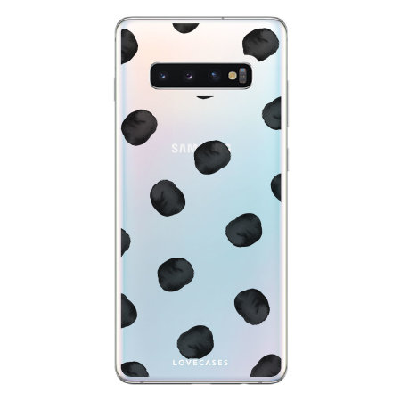 watch 1d2ef 0d2f7 LoveCases Samsung S10 Polka Phone Case - Clear Black