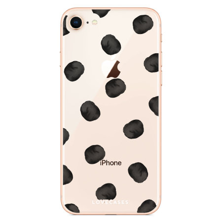 LoveCases iPhone 8 Polka Phone Case - Clear Black