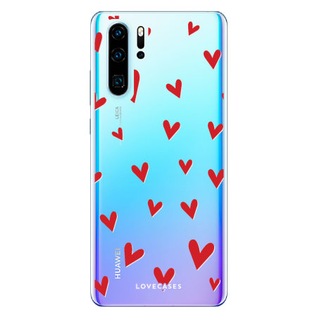 LoveCases Huawei P30 Pro Hearts Phone Case - Clear Red