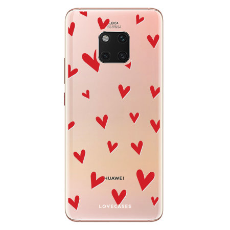 LoveCases Huawei Mate 20 Pro Hearts Phone Case - Clear Red