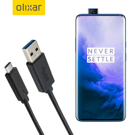 Olixar USB-C OnePlus 7 Pro 5G Charging Cable - Black 1m