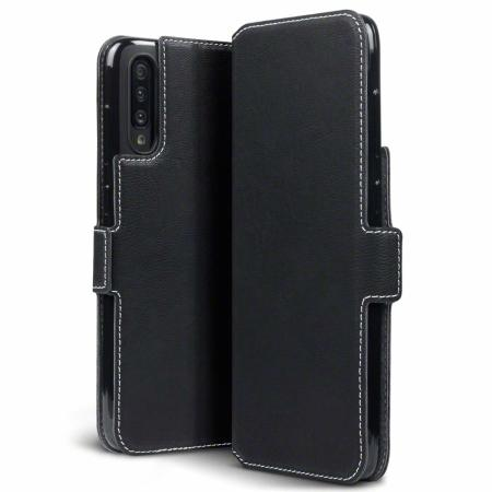 Olixar Leather-Style Low Profile Galaxy A70 Wallet Case - Black