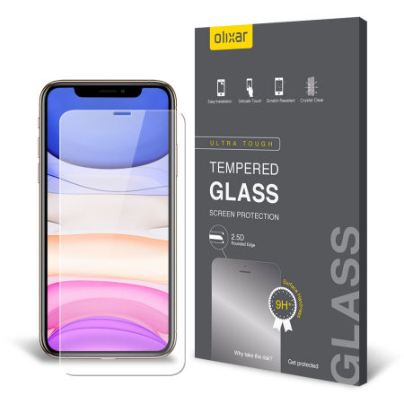Olixar iPhone 11 Case Compatible Tempered Glass Screen Protector 6 1'
