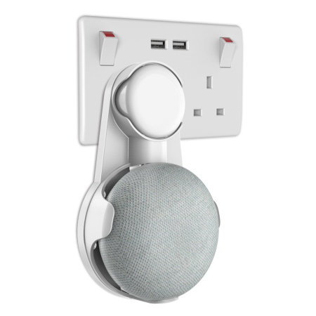 Olixar Google Home Mini Universal Plug Socket Wall Mount - White